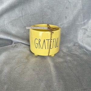 Rae Dunn Yellow Grateful Plant Pot